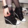 Womens Belt Buckle Pointed Toe Wedge Heel Sneaker Sports Athletic Shoes High Top