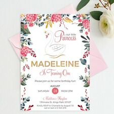 YOU PRINT - Swan 1st Birthday Princess Invitation Girl First Pink Floral Invite