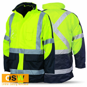 Hi Vis YELLOW X-Back Two-Tone Day & Night 6-in-1 Contrast Jacket & Vest COMBO