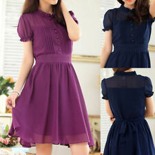 Knee Length Collared Chiffon Ballgowns for Women