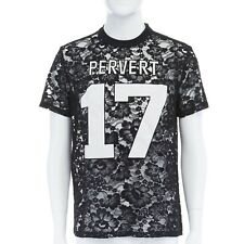 GIVENCHY TISCI black sheer lace Pervert 17 patched football jersey top IT38 M
