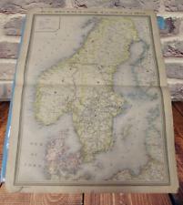 Ancienne Affiche Carte des chemins de fer Suède et Norvège Danemark Oslofjorden