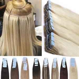 Thick 200g 80pcs Tape In Remy Human Hair Extensions Skin Weft FULL HEAD PU Soft