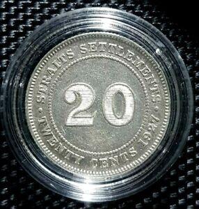 "RARE 1927 STRAITS SETTLEMENT""KING GEORGE V""20 Cent Silver Ø24mm(+1 coin)#14345"