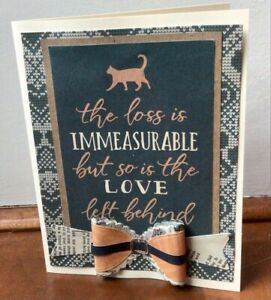 Navy blue Handmade sympathy card—Cat, pet loss—with 3D collar bow detail