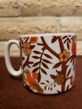 Fall Colored Birds, Trees & flowers Coffee Tea Cup made in Japan
