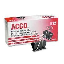 Acco Medium Binder Clips Steel Wire 58 Cap 1 14w Blacksi 050505720507