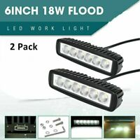 2PCS 18W 6 LED Work Light Bar Flood Spot Lamp Offroad Driving Fog 4WD SUV Truck