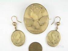 ANTIQUE VICTORIAN PERIOD CARVED LAVA EOS / DAY CAMEO BROOCH & EARRINGS SET c1870