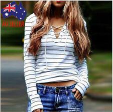Fashion Women Stripe Long Sleeve T-shirt Ladies Cotton V-neck Casual Tops Blouse Regular M