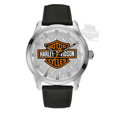 Harley-Davidson Bulova Mens Stainless Steel Black Leather band Watch, NEW IN BOX