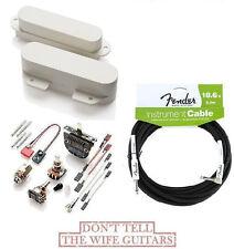 EMG T SET OF 2 WHITE TELE PICKUPS FT RT ( FREE FENDER 18FT CABLE ) TELECASTER
