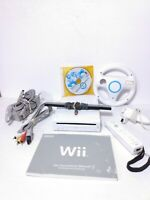 Nintendo Wii Console Lot w/ Mario Kart & Steering Wheel System Bundle W/Manual