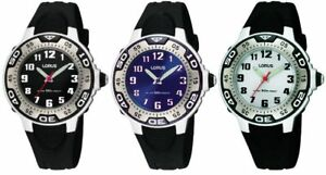 Lorus Silver / Black / Blue Dial Black Resin Strap Boys Watch - 50m WR