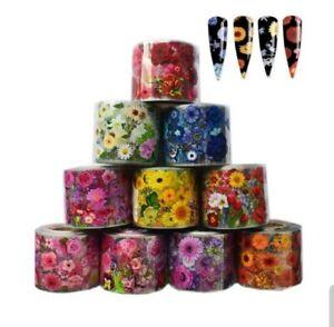 """Flowers vasette"" - transfer nail art foils set 10 pcs"