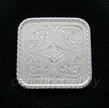 "Western Horse Saddle Tack Bright Silver Rope Edge Square Concho 1"" Screw Back"