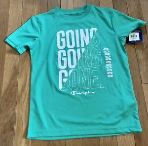 New Boys Size 7/8 Champion Athletic Polyester T Shirt Short Sleeve Green School