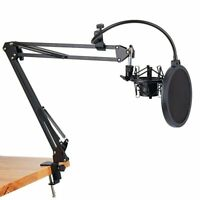Microphone Clip Scissor Arm Stand with Shock Mount Pop Filter Suspension Boom