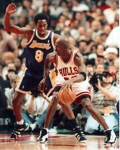 Kobe Bryant Guarding Michael Jordan Poster Art Photo NBA Posters Artwork 16x20