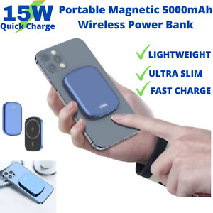 Power Bank Portable 5000MaH for Apple iPhone 12 Magnetic Portable Battery Blue