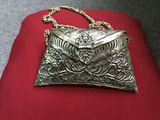 Antique Rare Middle Eastern Hand Crafted Silver Plated Small Hand Bag
