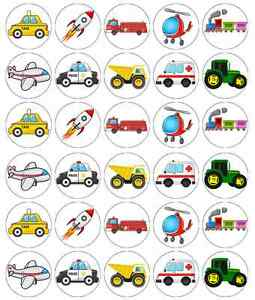 30 x Vehicles Cartoon Children Cupcake Toppers Edible Wafer Fairy Cake Topper