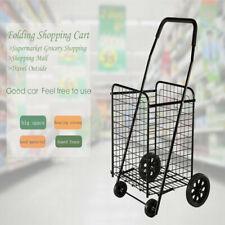 Folding Shopping Cart Jumbo Basket Rolling Utility Trolley Adjustable Handle New