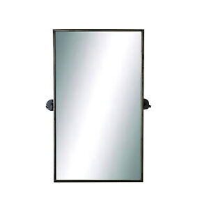 Swivel Wall Mirror Rectangular in Metal with Rusted Look Heavy Bathroom or Hall