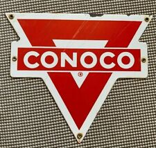 Vintage Porcelian Conoco Sign Oil Display Rack Plate 100% Original