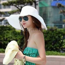 Chapeau de Plage Femme Flexible Mélange de Paille blanc Large bord été Pratique