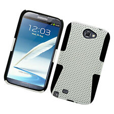 For Samsung Galaxy Note II 2 MESH Hard Hybrid Silicone Rubber Skin Case White