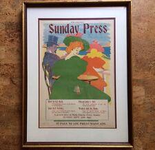Rare George Reiter Brill Poster Belle Époque Era 1896 Philadelphia Sunday Press