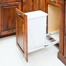White- Single Trash Can Pull-Out System/Can & Door Mounting Kit Included