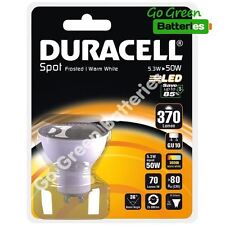 1x Duracell GU10 5.3 Watt (=50 Watt) LED bulb spot light 370 Lumens (Warm White)