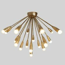 Mid Century Modern Ceiling Lamp Flush Mount Brass Meteors Sputnik Light