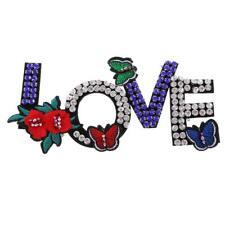 1 unid LOVE Rhinestone con cuentas parches bordado tela apliques ropa