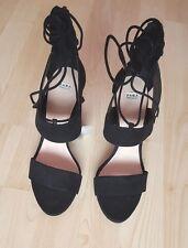 Zara Nero A Punta Tacco Con Cinturino alla Caviglia UK Taglia 8 Con Etichette Nuovo di Zecca