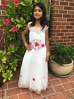 22 Age 2 -3 Size Fancy Frock Indian Bollywood Kids Dress Girls White Pink