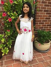 """24"""" Age 3 - 4 Size Fancy Frock Indian Bollywood Kids Dress Girls White Pink"""