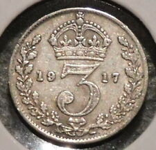British Silver Threepence - 1917 - King George V - $1 Unlimited Shipping