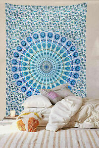 Indian Mandala Twin Bedspreads Cotton Tapestry Wall Hanging Decor Poster Bedding