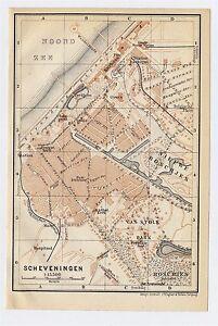 1910 ANTIQUE CITY MAP OF SCHEVENINGEN / THE HAGUE DEN HAAG / HOLLAND NETHERLANDS