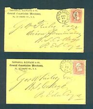 """TWO 1866 """"PETERSBURGH VA."""" FANCY Cancel covers - VERTICAL BARS in Circle. Finley"""