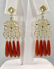 Untreated Mediterranean Red Coral  Solid 14kt Gold Chandelier Earrings, New