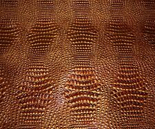 Vinyl Upholstery faux Leather Crocodile Swamp Copper Metallic Embossed shinny