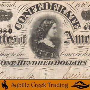 T-65 1864 $100 CONFEDERATE CURRENCY LUCY PICKENS *CIVIL WAR BILL*  46880
