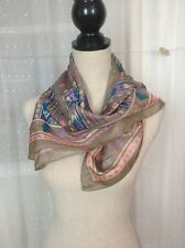 Pastel Southwestern Silk Scarf Aztec design delicate Taupe Pink TealVtg