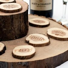 Personalised Wedding Favours. Small Rustic Log Slices. Vintage Table Decorations