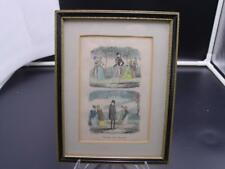 """GEORGE CRUIKSHANK TINTED COMEDY PRINT """"PREMIUM and DISCOUNT"""" FRAMED 6"""" X 4"""""""