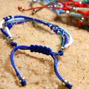 Adjustable Crystal Beads Bracelets Handmade Boho String Rope Friendship Bracelet